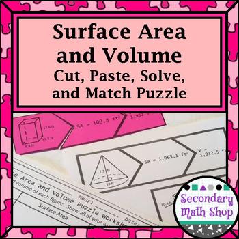 Surface Area and Volume of 3-D Figures Cut, Paste, Solve, Match Puzzle Activity
