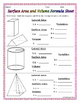 Surface Area and Volume - 3-D Figures Wall Posters and Gra