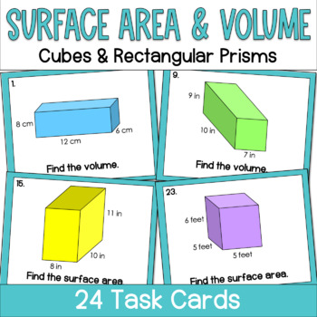 Surface Area and Volume of Cubes and Rectangular Prisms- Task Cards