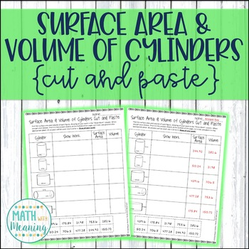 Surface Area and Volume of Cylinders Cut and Paste Worksheet