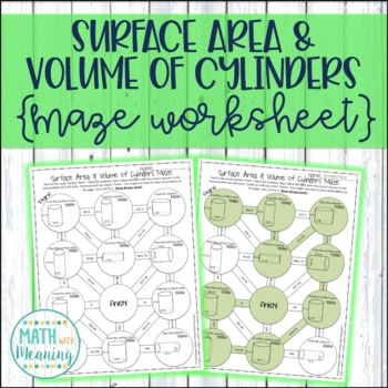Surface Area and Volume of Cylinders Maze Worksheet - CCSS 7.G.B.6 ...