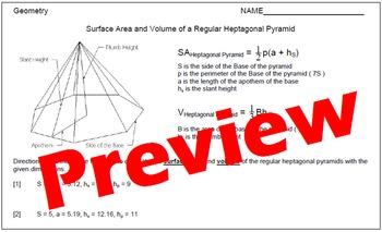 Surface Area and Volume of Regular Heptagonal Pyramids