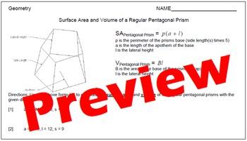 Surface Area and Volume of Regular Pentagonal Prisms