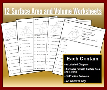 Surface Area And Volume Of Prisms And Pyramids Worksheet Bundle Tpt