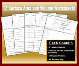 Surface Area and Volume of Prisms and Pyramids Worksheet Bundle