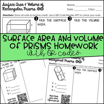 Surface Area and Volume of Prisms Homework