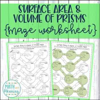 Surface Area and Volume of Prisms Maze Worksheet - CCSS 7.G.B.6 Aligned