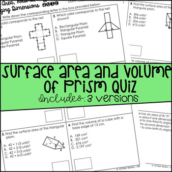 Surface Area and Volume of Prisms Quiz