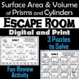 Surface Area and Volume of Prisms and Cylinders Activity Escape Room Game