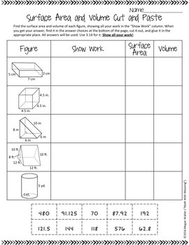 Surface Area and Volume of Prisms and Cylinders Cut and Paste Worksheet
