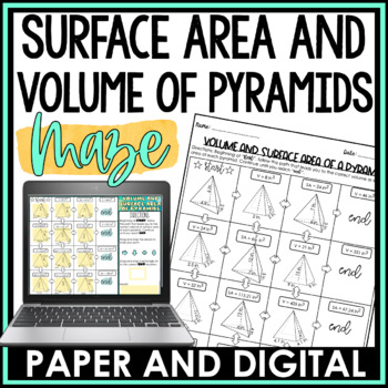 Surface Area and Volume of Pyramids Maze Activity