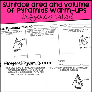 Surface Area and Volume of Pyramids Bundle