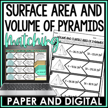 Surface Area and Volume of Pyramids Matching Activity