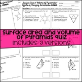 Surface Area and Volume of Pyramids Quiz