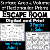 Surface Area and Volume of Rectangular Prisms Activity Escape Room Geometry Game