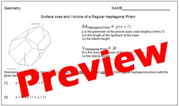Surface Area and Volume of Regular Heptagonal Prisms