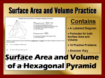 Surface Area and Volume of Regular Hexagonal Pyramids