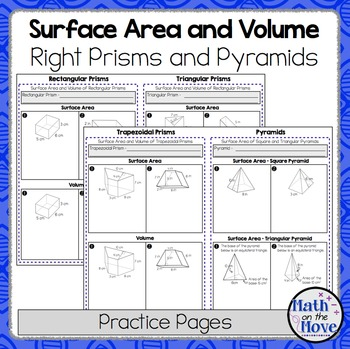 surface area and volume of right prisms and pyramids practice pages 7 g 6. Black Bedroom Furniture Sets. Home Design Ideas