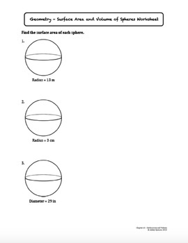 Surface Area and Volume of Spheres (Lesson with Homework)