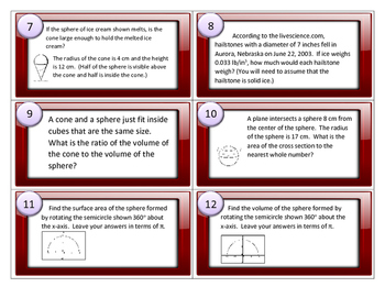 Surface Area and Volume of Spheres Task Cards