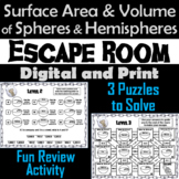 Surface Area and Volume of Spheres and Hemispheres: Geometry Escape Room Math