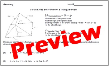 Surface Area and Volume of Triangular Prisms