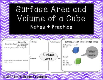 Surface Area and Volume of a Cube Notes and Practice Resources