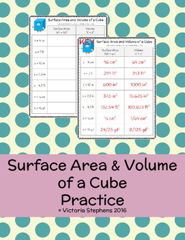 Surface Area and Volume of a Cube Practice