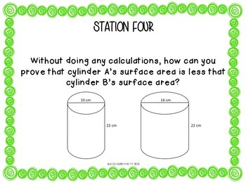 Surface Area and Volume of a Cylinder Stations Activity