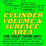 """Surface Area and Volume of a Cylinder Unit:  The """"Toilet P"""