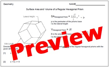 Surface Area and Volume of Regular Hexagonal Prisms