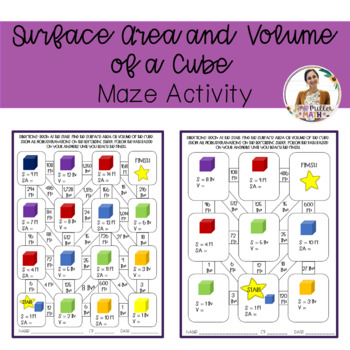 Surface Area and Volume of a Cube Maze Activity