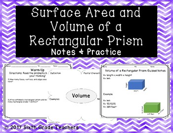 Surface Area and Volume of a Rectangular Prism Notes and Practice Resources