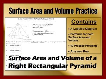 Surface Area and Volume of Regular Rectangular Pyramids