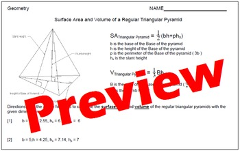 Surface Area and Volume of Regular Triangular Pyramids