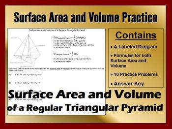 Surface Area and Volume of Regular Triangular Pyramids