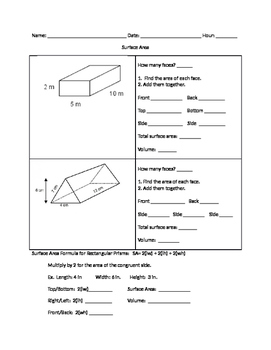 Surface Area guided notes