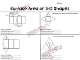 Surface Area of 3-D Shapes Worksheet