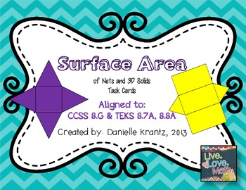 Surface Area of 3D Figures Task Cards