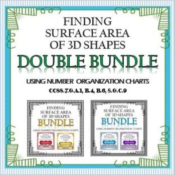 Surface Area of 4 Shapes MEGABUNDLE using Organizational C