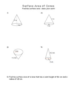 Surface Area of Cones