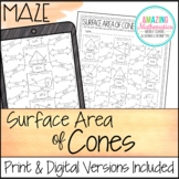 Surface Area of Cones Worksheet - Maze Activity