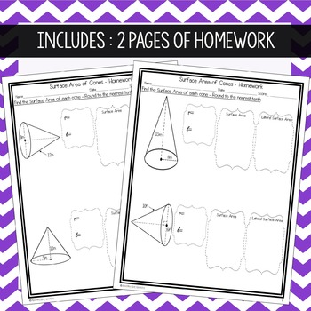 Surface Area of Cones ~ Warm Up, Notes, & Homework