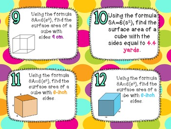 Surface Area of Cubes and Rectangular Prisms Task Cards for CCSS 6.G.4