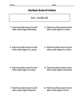 Surface Area of Cubes and Rectangular Prisms Worksheets/Practice