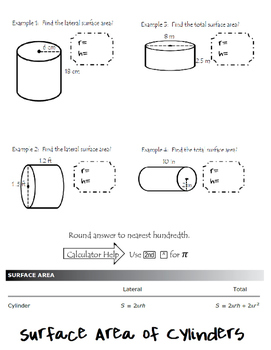 Surface Area of Cylinder foldable