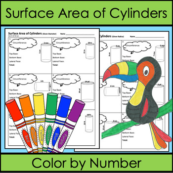 Surface Area of Cylinders Color by Number