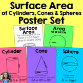 Surface Area of Cylinders, Cones, and Spheres Posters Set