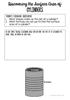 Surface Area of Cylinders Discovery Lesson