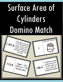 Surface Area of Cylinders - Domino Match